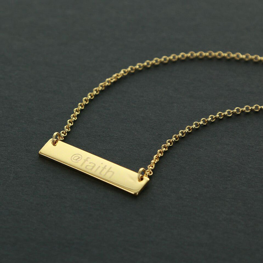Personalized Gold Plated Horizontal Bar Necklace 3