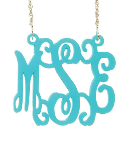 Aqua Vine Script Acrylic Monogram Necklace