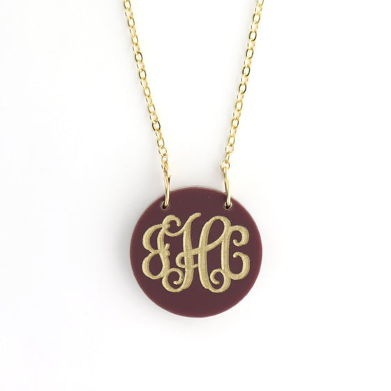 Script Acrylic Monogram Monogram Disc Necklace - Two Sizes