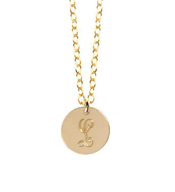14K Gold Filled Disc Initial Necklace As Seen On Carrie Underwood