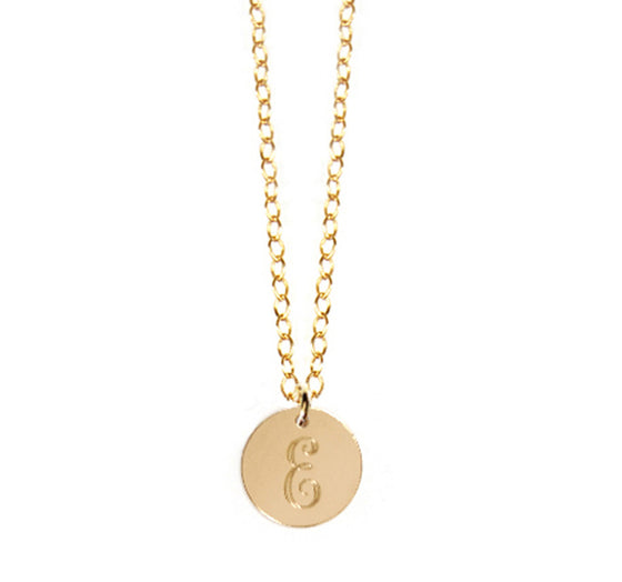 14K Gold Filled Disc Initial Necklace - As Seen on Carrie Underwood script