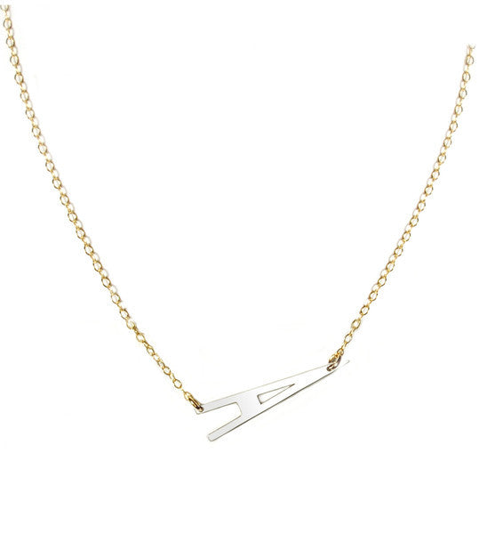 Large Sideways Initial Necklace Be Monogrammed