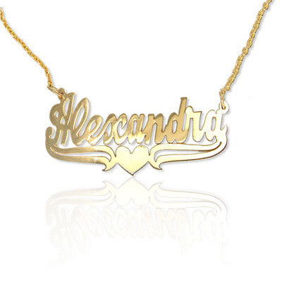 Personalized Small Nameplate Necklace - Lower Tails and Heart