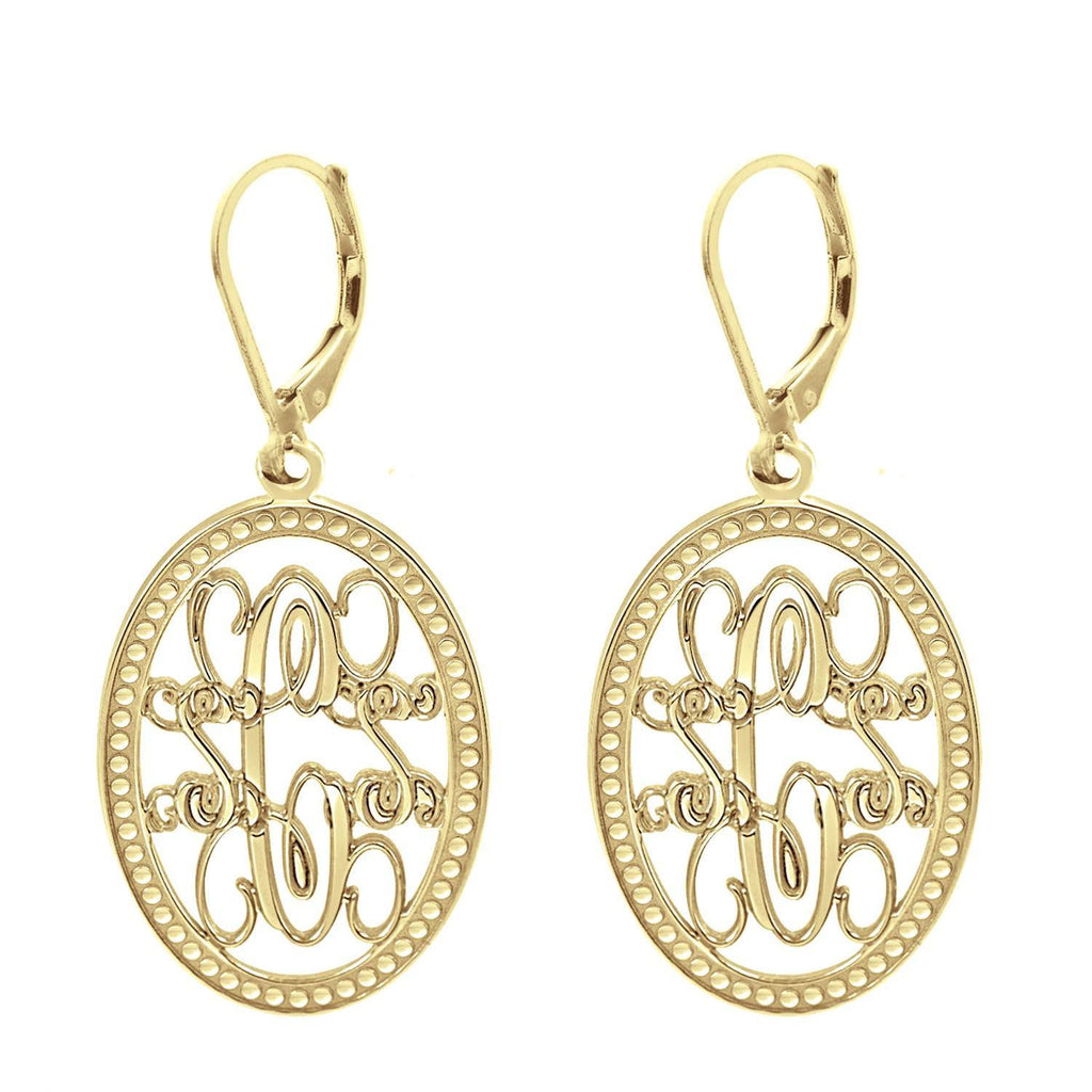Oval Monogram Leverback Earrings 2