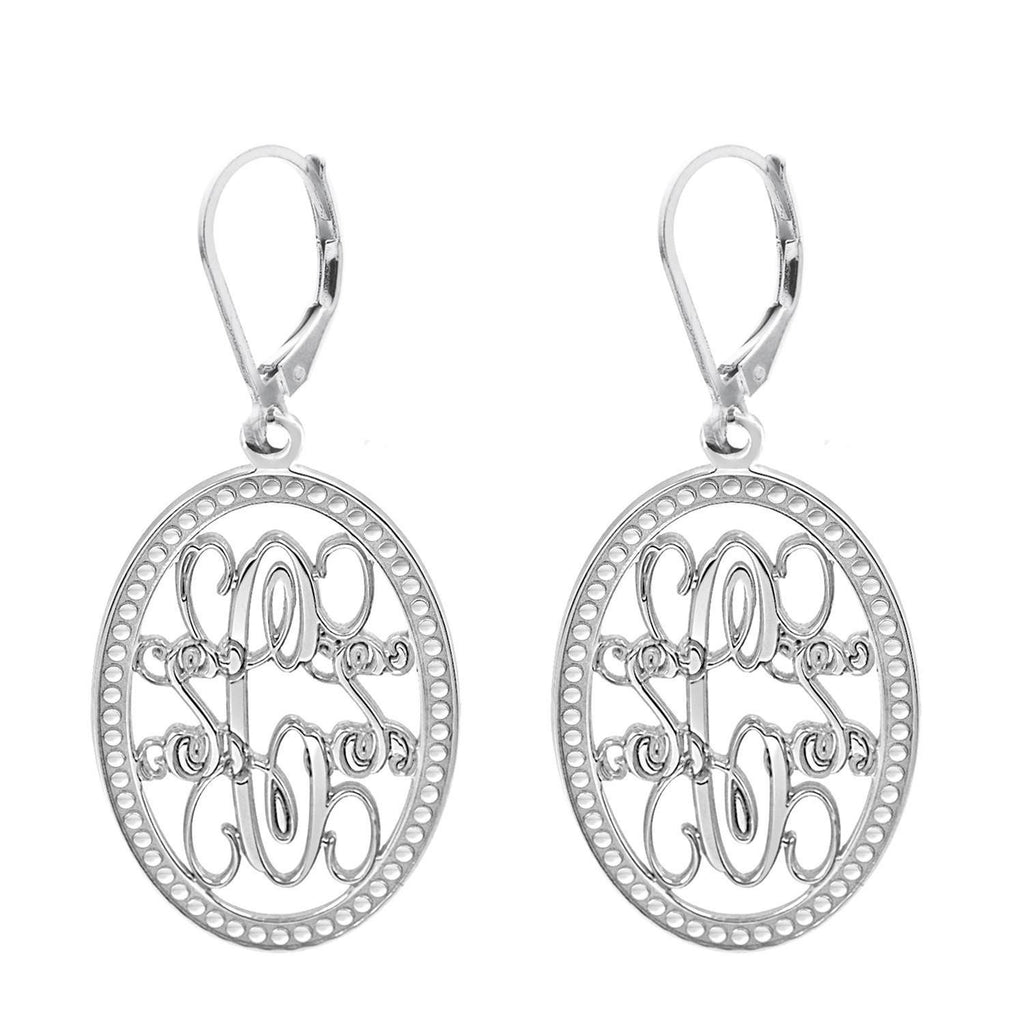 Oval Monogram Leverback Earrings