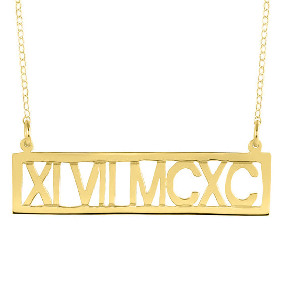 Horizontal Roman Numeral Necklace