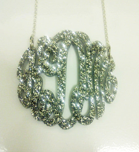 Silver Glitter Acrylic Monogram Necklace