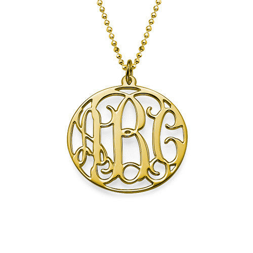 Medium Round Rimmed Cutout Monogram Pendant