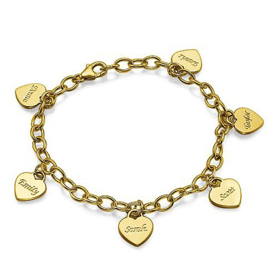 Personalized Mothers Heart Charm Bracelet