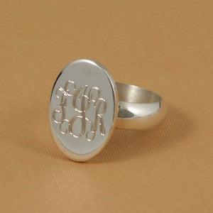 Monogrammed Sterling Silver Oval Ring Alternate 3