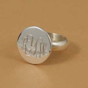 Monogrammed Sterling Silver Round Ring Alternate 2