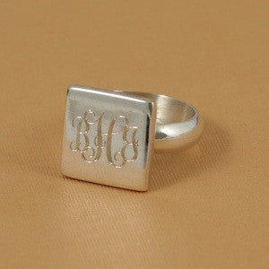 Monogrammed Sterling Silver Square Ring Alternate 1