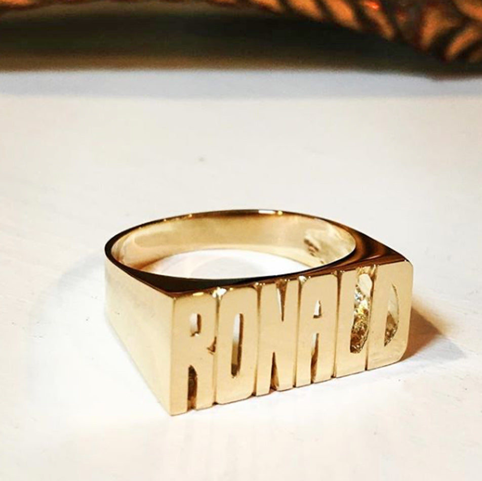 Large Block Gold Name Ring 2