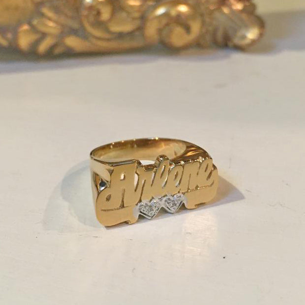 Gold Name Ring - Diamonds and Hearts