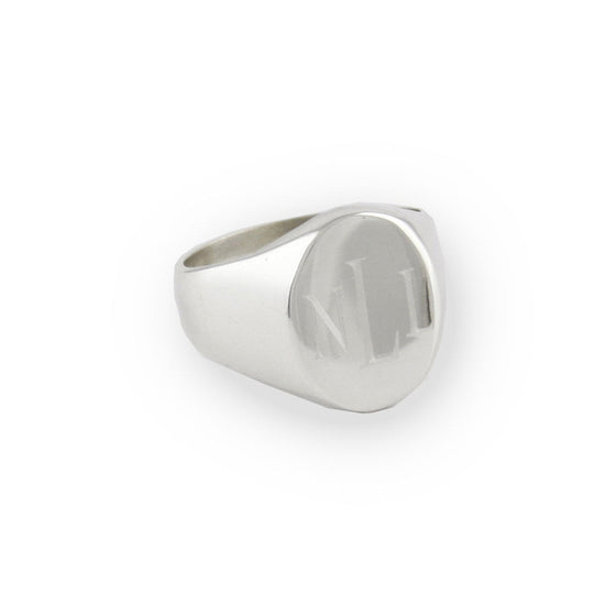 Mens Sterling Silver Personalized Oval Signet Ring