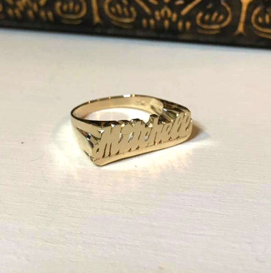 Small Script Gold Name Ring with Tail 3