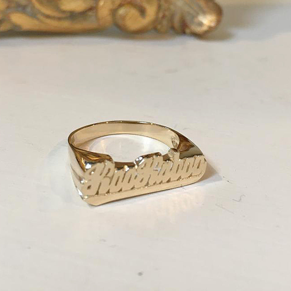 Small Script Gold Name Ring with Tail 2