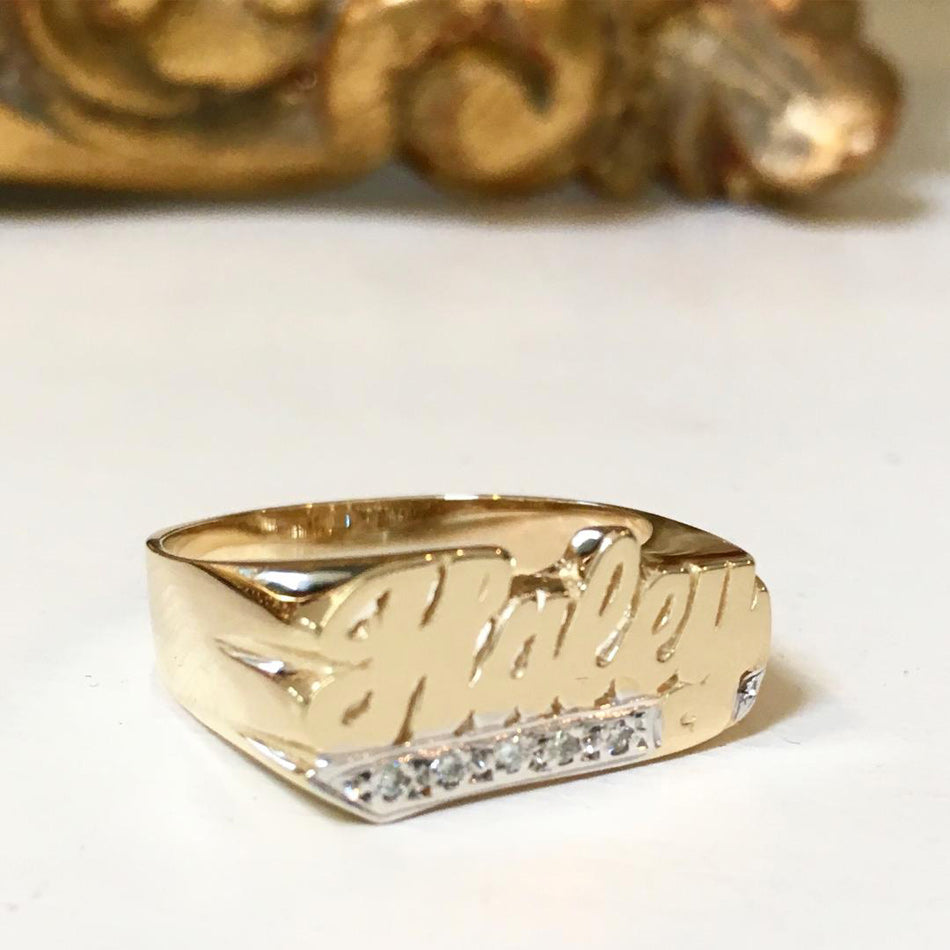 Name Ring with Diamonds - 8mm 2