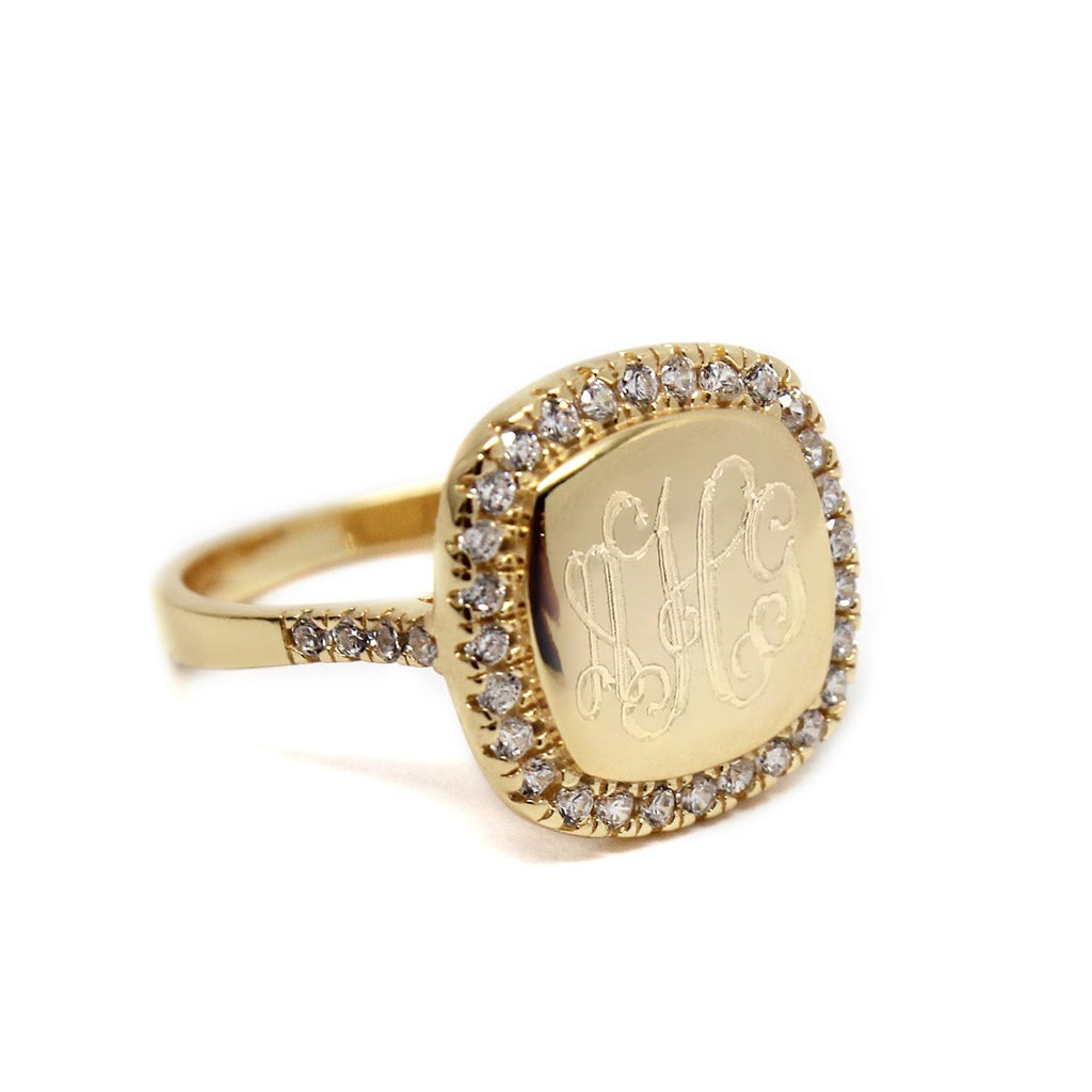 Square CZ Rimmed Monogram Ring 4