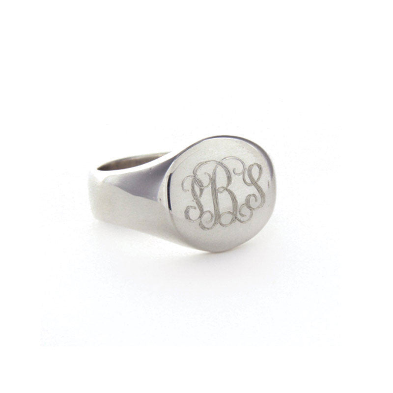 Mens Sterling Silver Personalized Round Signet Ring