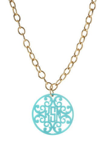 Acrylic Rimmed Filigree Monogram Necklace