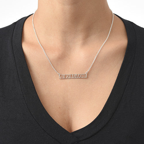 Sterling Silver Roman Numeral Bar Necklace 2