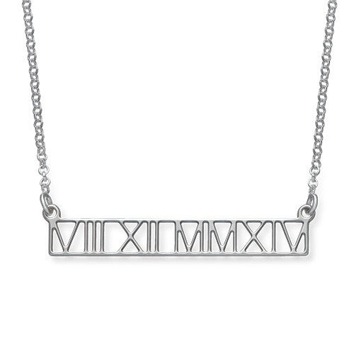 Sterling Silver Roman Numeral Bar Necklace