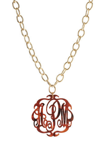 Acrylic Script Monogram Necklace On Long Chain