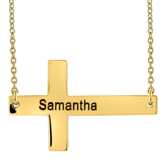 Personalized Gold Sideways Cross Necklace Selena Gomez