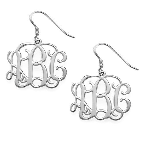 Personalized Sterling Silver Medium Filigree Earrings