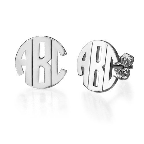 Small Circle Monogram Post Earrings