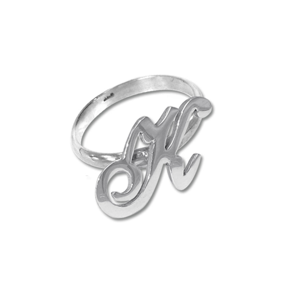 Sterling Silver Script Initial Ring