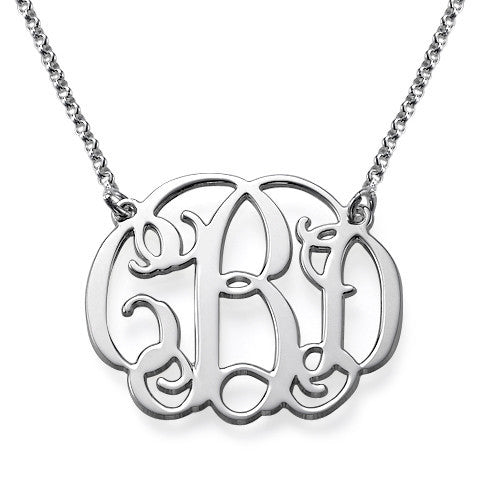 Silver Vine Script Monogram Necklace