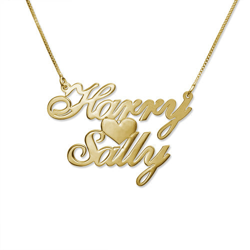 Gold Two Names and Heart Necklace