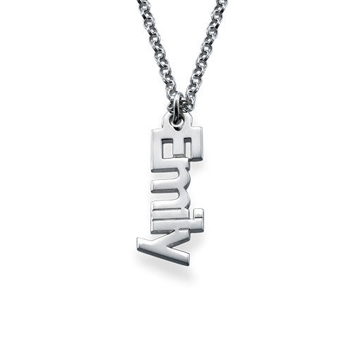 Silver Vertical Name Necklace