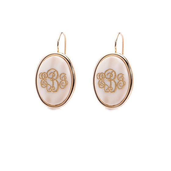 Vineyard Acrylic Oval Monogram Dangle Earrings