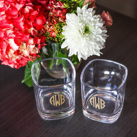 Vinyl Monogram Acrylic Short Glass