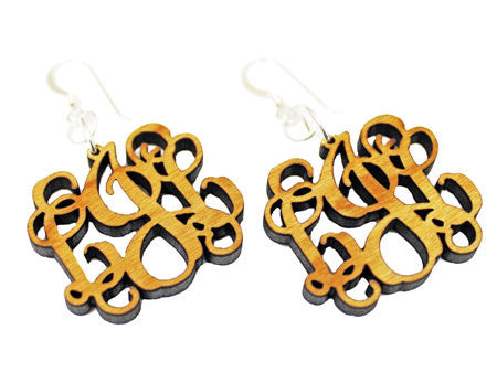 monogram wood earrings - flourish script