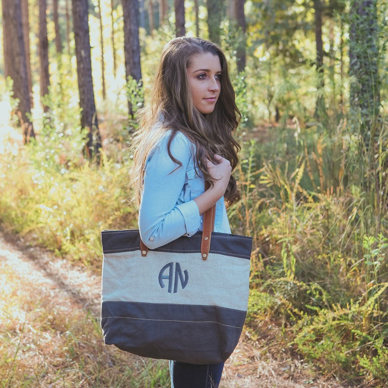 Monogram Natural Linen and Canvas Tote Bag 2