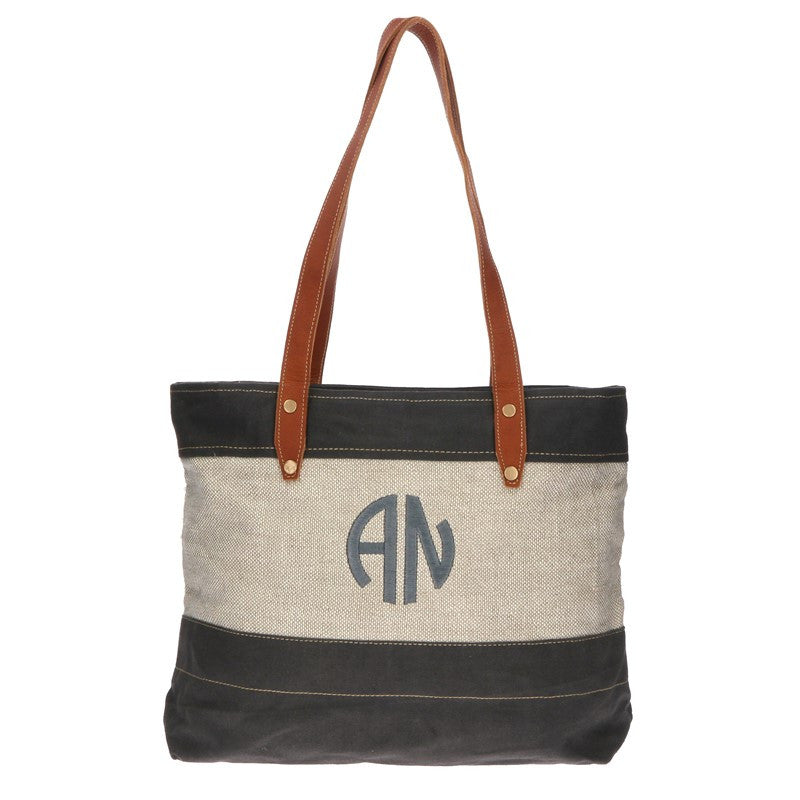 Monogram Natural Linen and Canvas Tote Bag