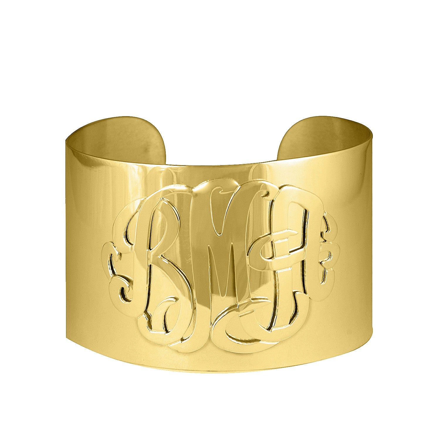24K Gold Plated Monogram Wide Cuff Bracelet