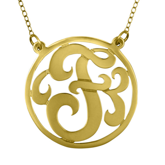 24K Gold Plated Rimmed Swirly Initial Necklace Split Chain