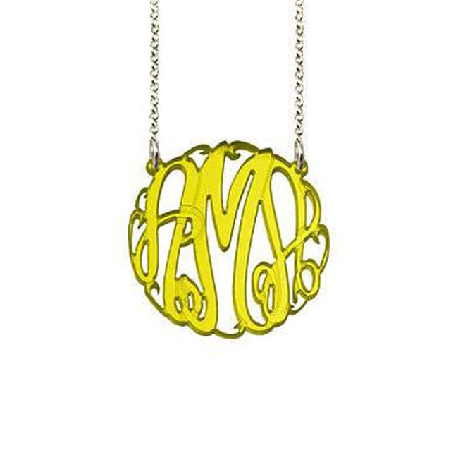 Acrylic Big Slim Monogram Necklace