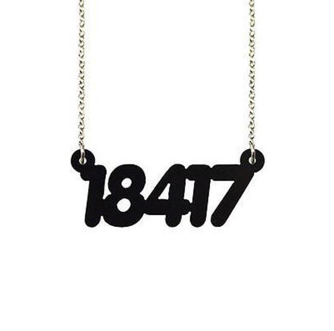 Acrylic Zip Code Necklace - Black