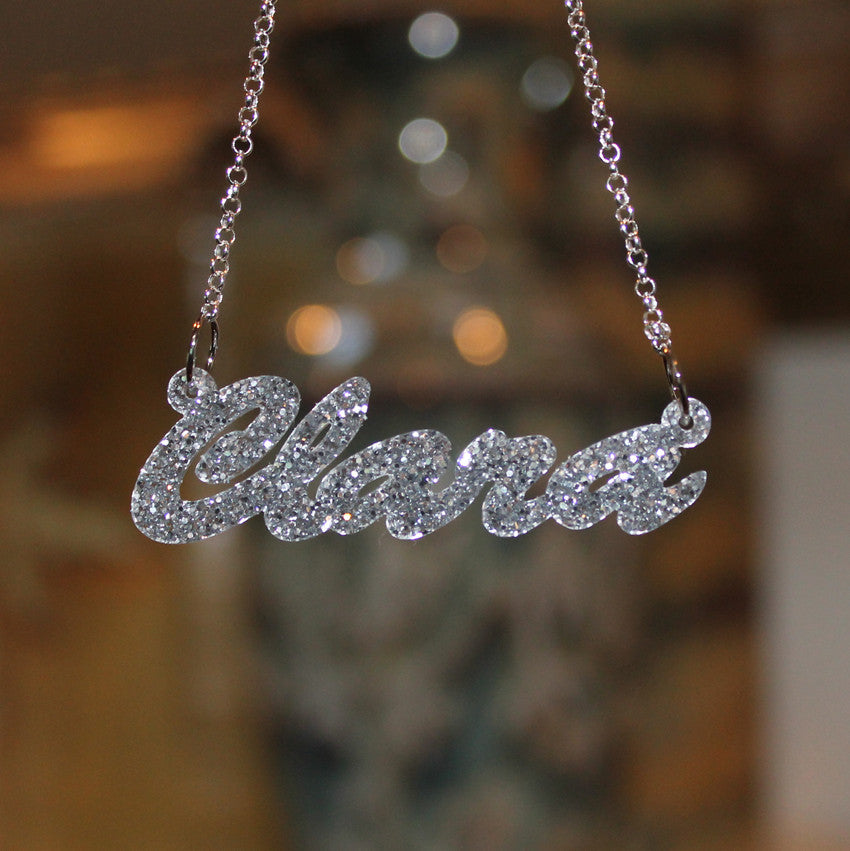 acrylic nameplate necklace silver glitter