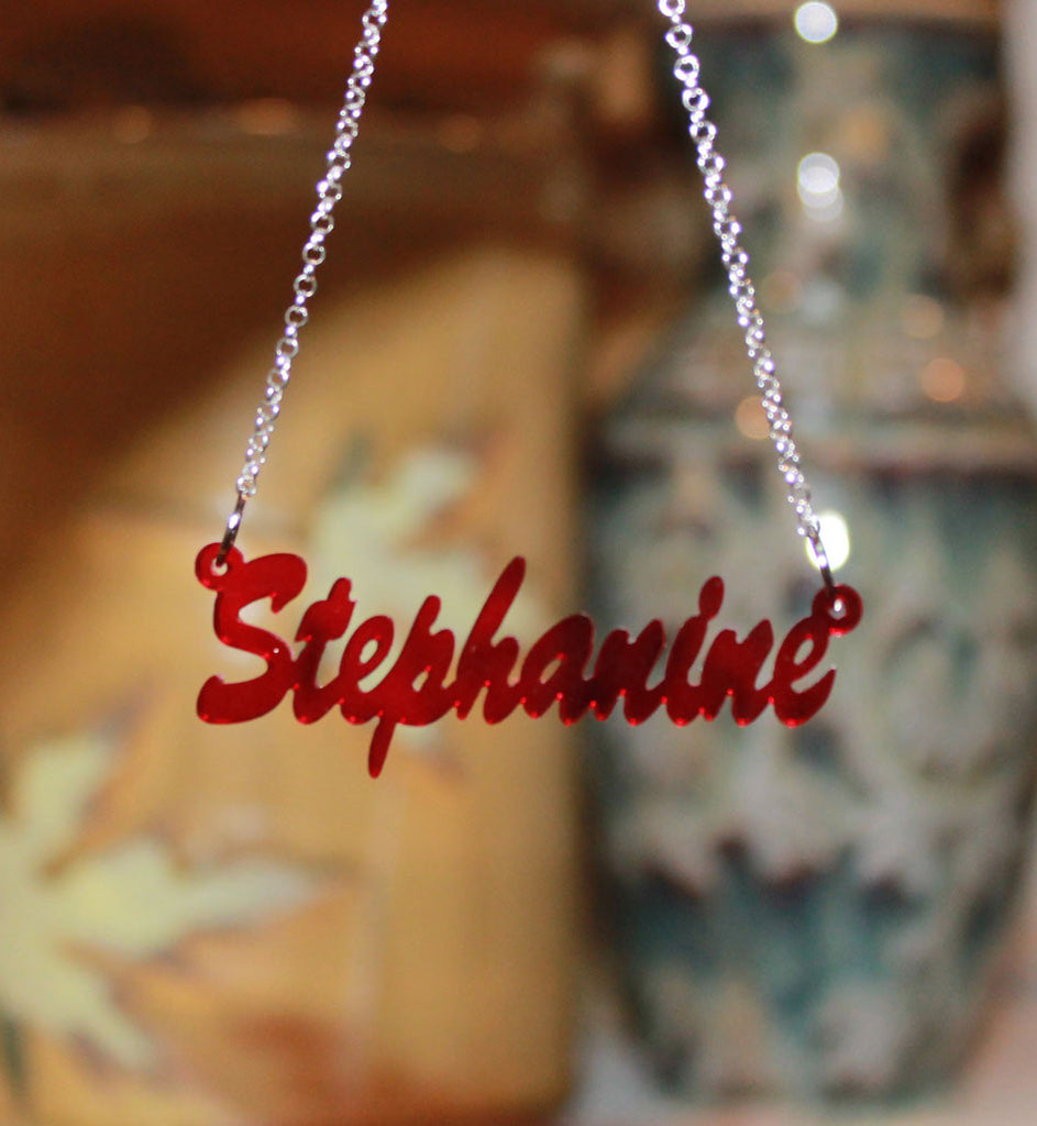 acrylic name necklace red transparent
