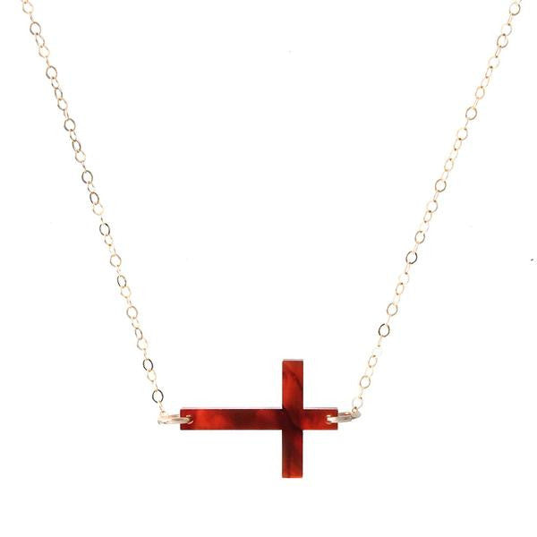 Acrylic Side Cross Necklace