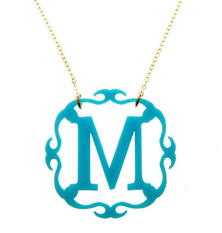 Ornate Acrylic Initial Necklace  Moon And Lola