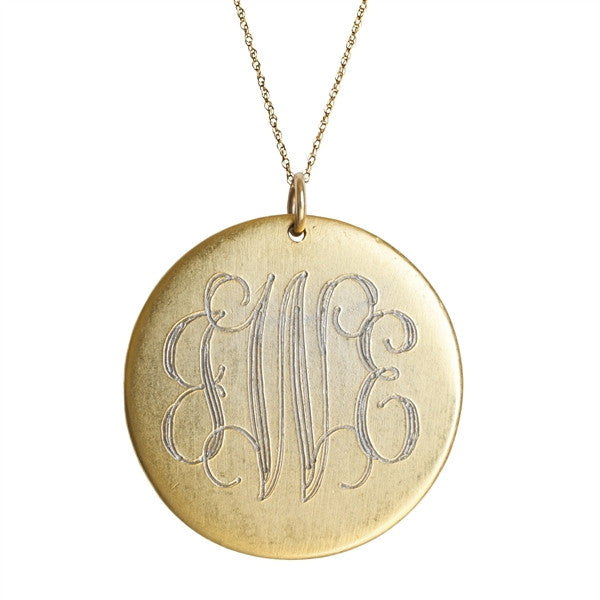 antiqued large gold disc initial necklace