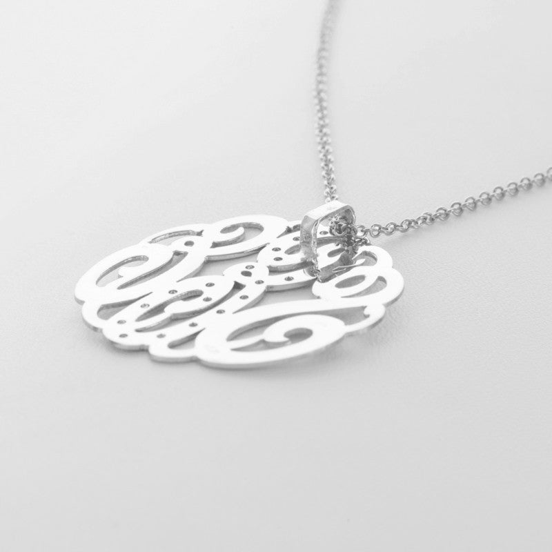 Back Bale Monogram Necklace - back view